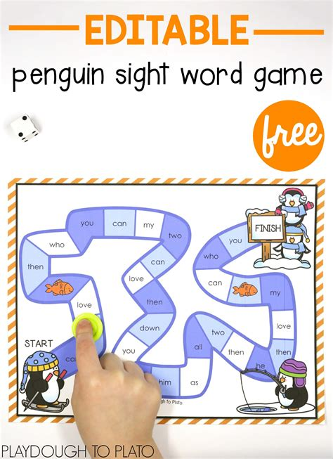 printable literacy word games penguin sight word game playdough to plato