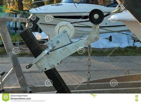 boat hand winch hand winch of the boat trailer closeup stock image image