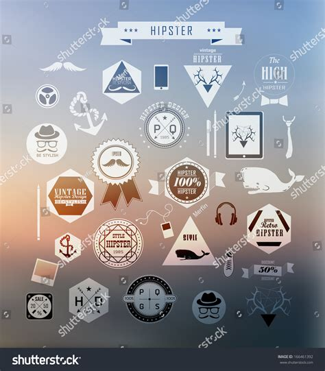 hipster style elements icons and labels stock vector hipster style elements icons and labels on blur