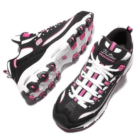 skechers black sneakers womens skechers d lites d liteful black pink womens running shoes