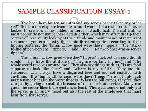 Classification Essay by Classification Essay