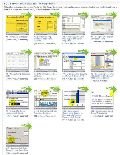 online tutorial for sql scottgu s blog free sql server training videos and