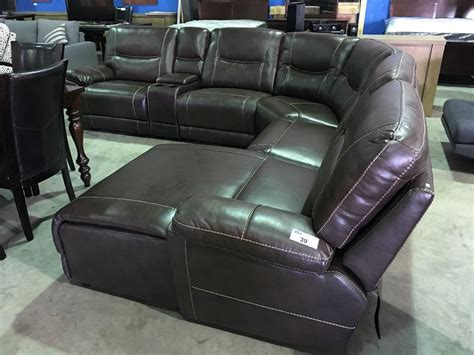 6 sectional sofa brown leather 6 reclining sectional sofa set able