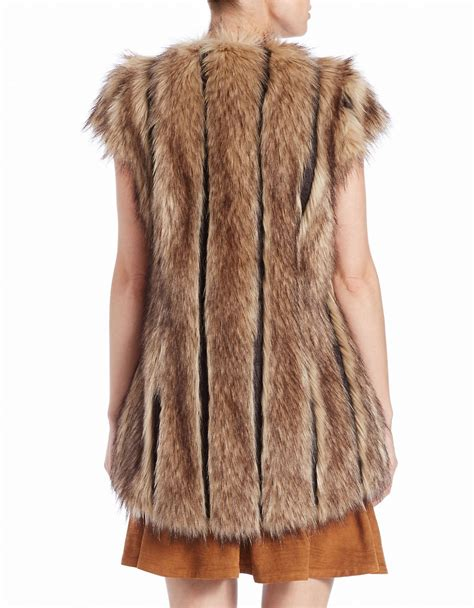 design lab fur vest lord taylor faux fur cap sleeve vest in natural lyst