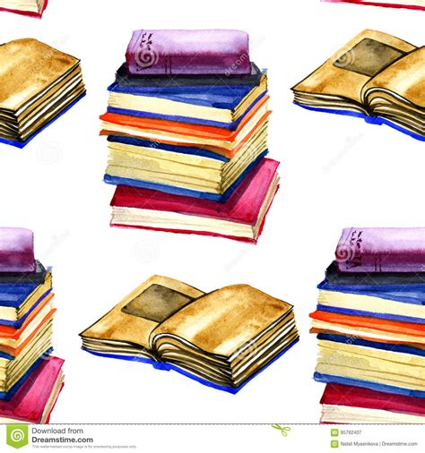watercolor florida pattern book watercolor open book seamless pattern on white background