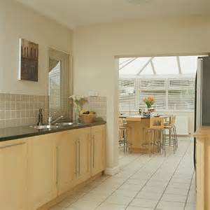 modern galley kitchen conservatory diner dining room
