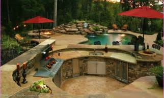 Backyard Kitchen Design Ideas Backyard Design Idea With Pool And Outdoor Kitchen Landscaping Gardening Ideas