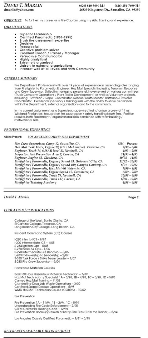 Firefighter Resume Sles by Entry Level Firefighter Resume Sales Firefighter Lewesmr