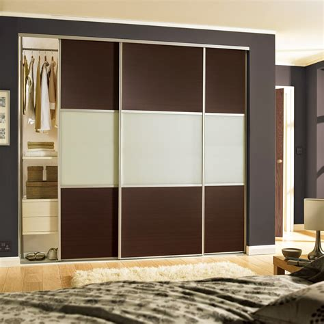 Sliding Doors For Fitted Wardrobes by Stylish 3 Door Sliding Wardrobe With Glass Finish