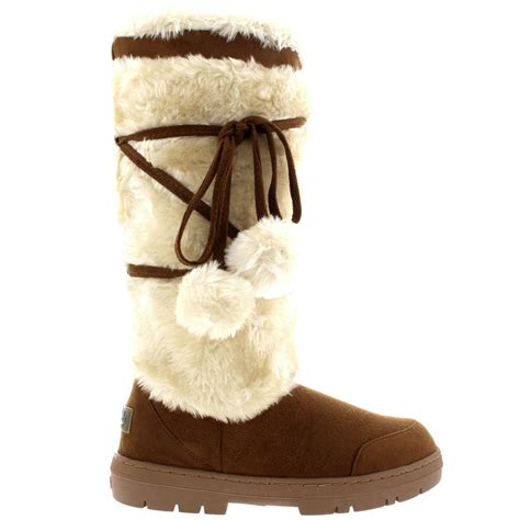 womens pom pom tall winter fur lined snow winter rain warm
