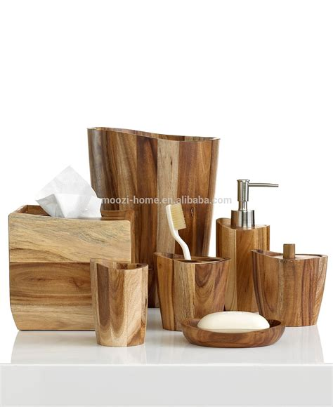 Natural Wooden Bath Sets Wood Bathroom Accessories Wood Bathroom Accessories