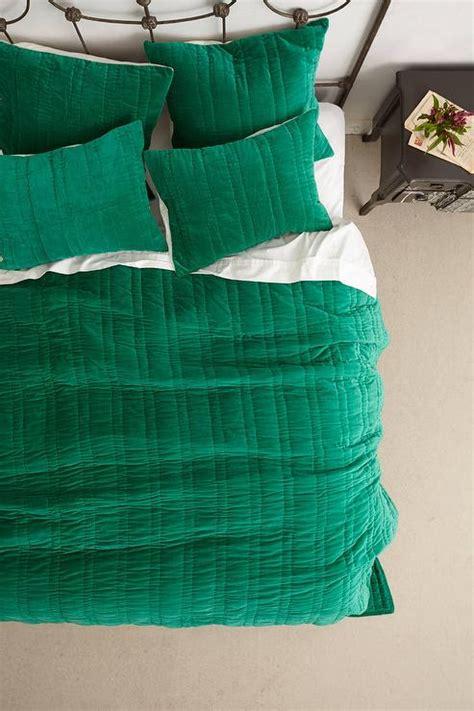 green velvet comforter stitched green velvet coverlet