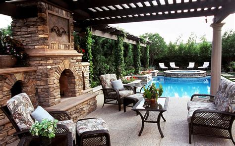 Cool Patio Designs Awesome Fireplace Inside Luxury Patio With Pergola Above Amusing Furniture Model On