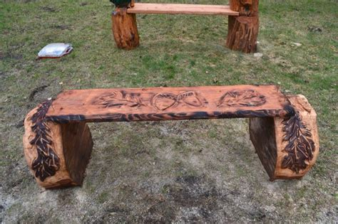 chainsaw bench logs bench oak leaf acorns chainsaw carving pinterest