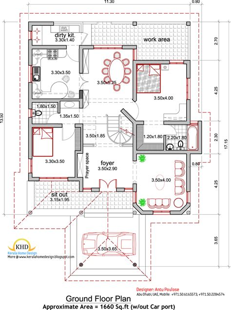 Floor Plans And Elevations Of Houses by House Plan And Elevation 2165 Sq Ft Kerala Home Design