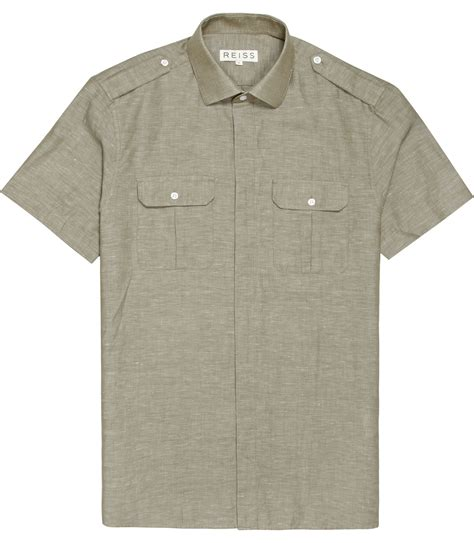 Sleeve Pocketed Shirt lyst reiss sleeve two pocket safari shirt