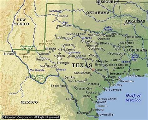 map of texas cities and rivers texas