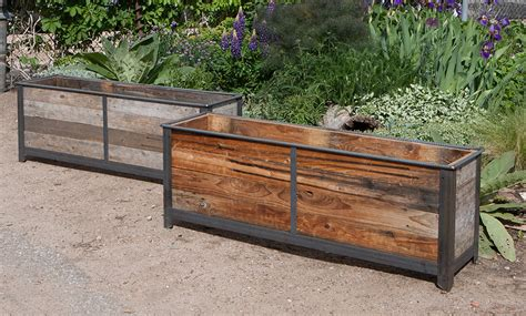 Reclaimed Wood Divider by Steel Frame Planters With Cedar Inserts 7 Custom By