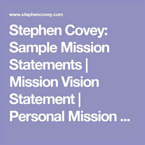stephen covey sle mission statements mission vision statement personal mission statement