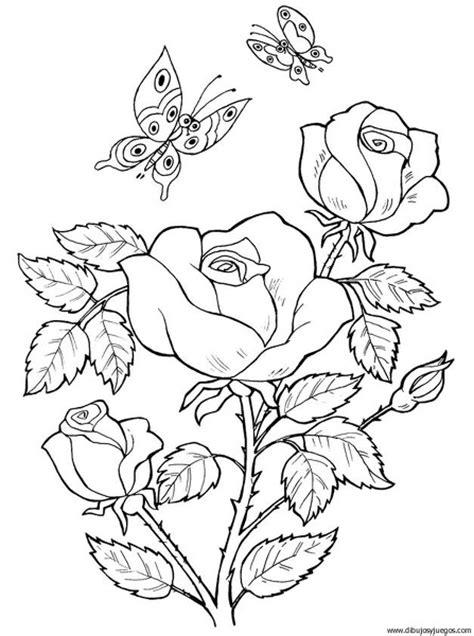 imagenes en blanco para colorear de flores dibujo flores rosas 025 dibujos y juegos para pintar y