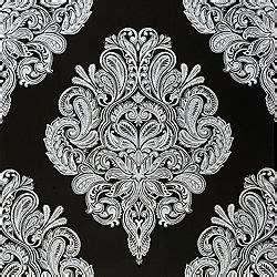 black and white flock wallpaper b q laurence llewelyn bowen cote coutre black damask wallpaper