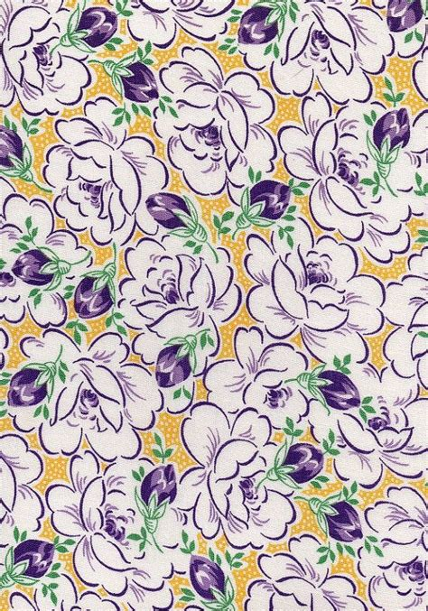 pattern purple and yellow 1940s fabric vintage retro material cotton floral pattern