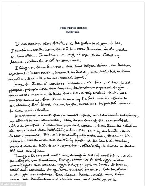 where did lincoln write the gettysburg address white house releases handwritten note president obama