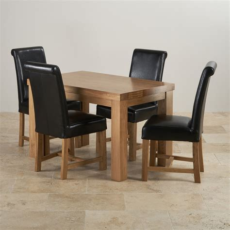 Oak Dining Table And Leather Chairs Fresco 4ft Solid Oak Dining Table 4 Black Leather Braced Chairs