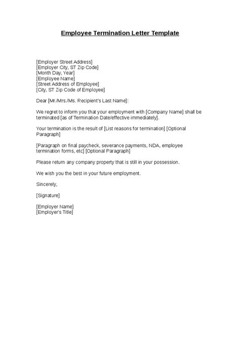 Excellent Termination Letter Template With Sample To
