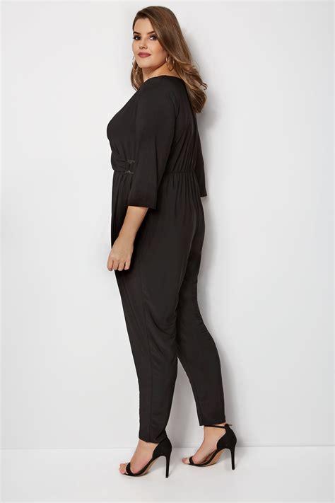yours black wrap jumpsuit plus size 16 to 32