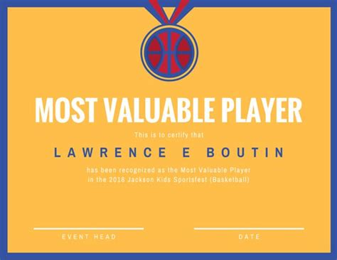 basketball mvp certificate template customize 534 award certificate templates canva