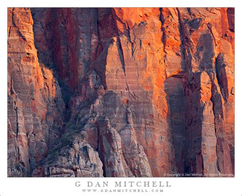 Faces Of The Nation Search G Dan Mitchell Photograph Detail Of The Watchman Sunset Zion National Park