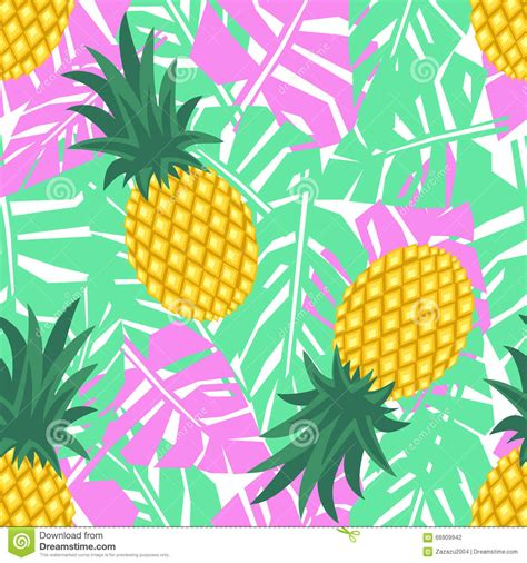cute hawaiian pattern pineapple with tropical leaves seamless pattern cute