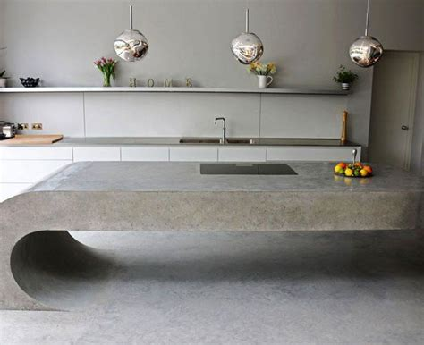cantilevered curvaceous polished concrete kitchen island