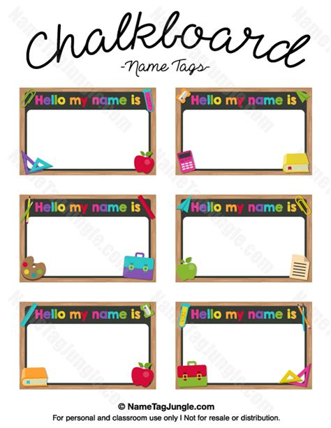 preschool name tag templates free printable chalkboard name tags the template can also