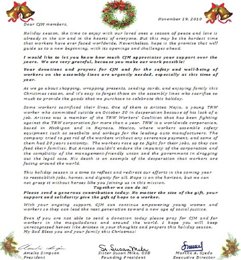 Appeal Letter For Justice Coalition For Justice In The Maquiladoras