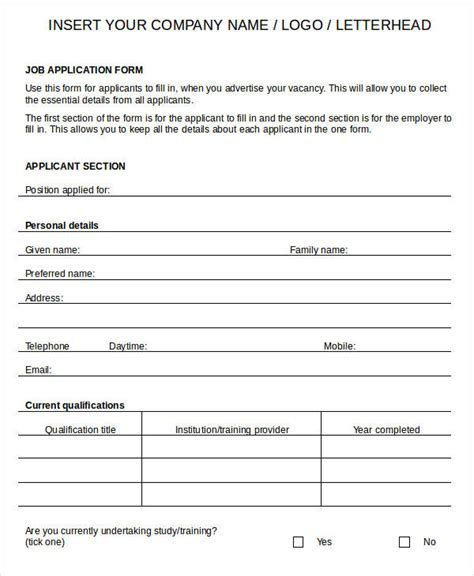 blank employment application template blank application word excel free premium