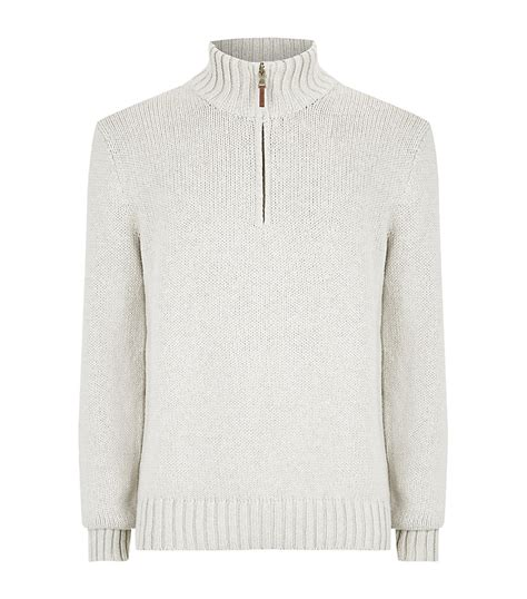 polo ralph half zip mock neck sweater in white for