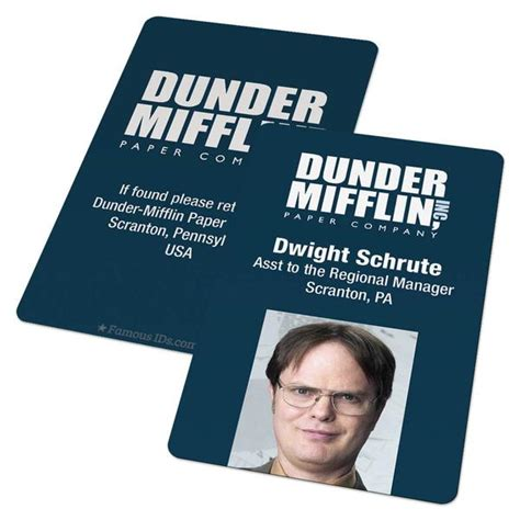 Custom Id Card Dunder Mifflin Badge From The Office Us Famous Ids Id Cards And Badges Mifflin Name Badge Template