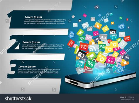banner design application mobile phone colorful application icon concept stock