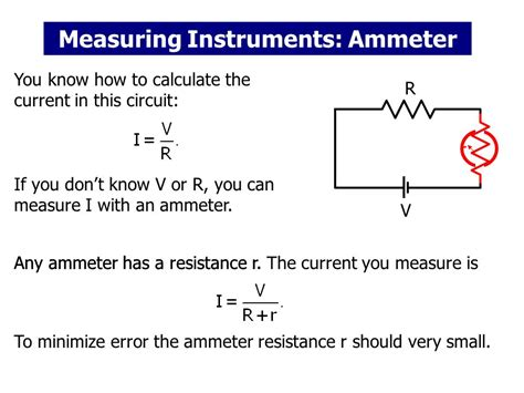 using an ammeter to measure current through a resistor measuring instruments ammeter voltmeter ohmmeter ppt