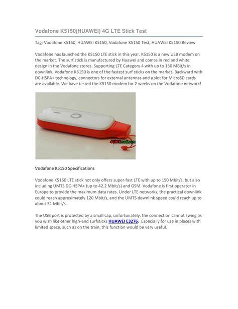vodafone lte zuhause test vodafone k5150 huawei 4g lte stick test by lte mall issuu