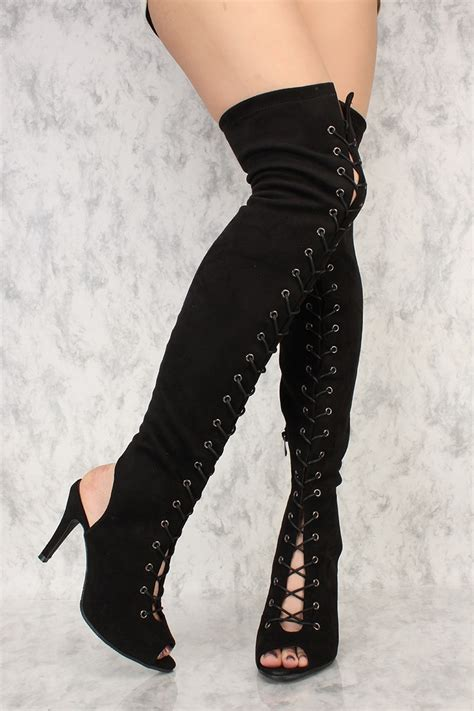 black front lace up open toe thigh high boots faux suede