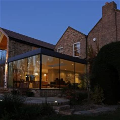 glass walled house traditional decor