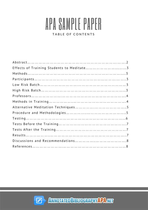 table of contents apa style template apa sle paper with table of contents