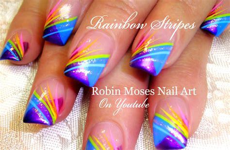 tutorial nail art rainbow nail art striping tutorial rainbow stripe tips nails