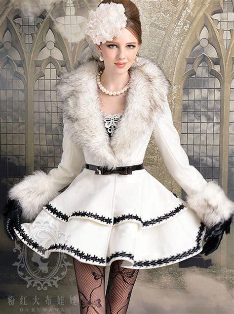 Dress Ola White Fit L Cc new ol dress style fur collar lace edge slim coat on