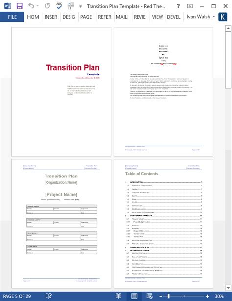 transition plan template technical writing tips
