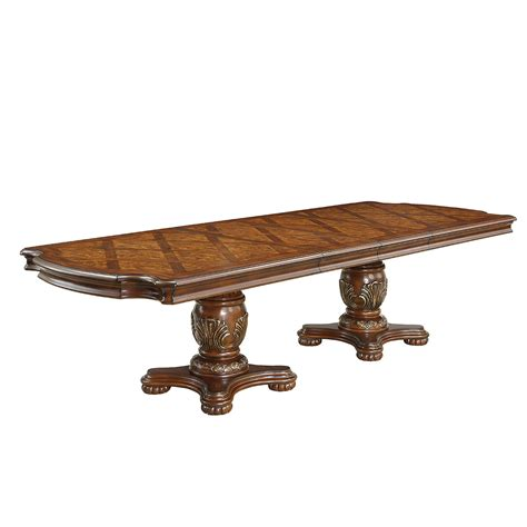 Expandable Pedestal Dining Table Furniture Of America Almeria Dual Pedestal Expandable Dining Table