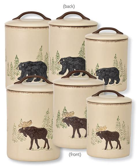 Pottery Canisters Kitchen rustic retreat bear moose canister set